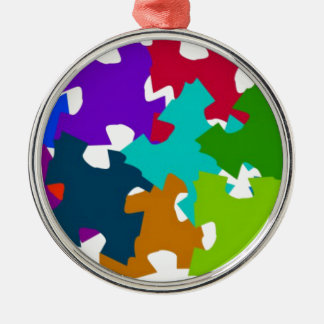 Jigsaw Puzzle Pieces Silver-Colored Round Decoration