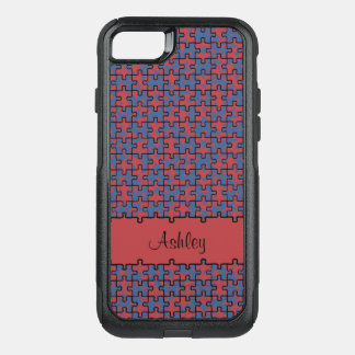 Jigsaw puzzle red blue pattern monogram or name OtterBox commuter iPhone 8/7 case