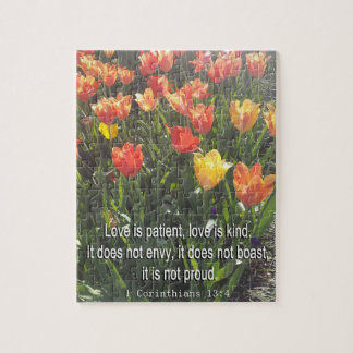 Jigsaw Puzzle - Tulips photo with Bible Verse