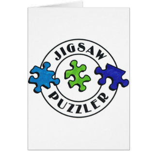 Jigsaw Puzzler clear background Greeting Card
