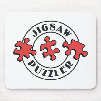 Jigsaw Puzzler with Red Puzzle Pieces Mouse Pad