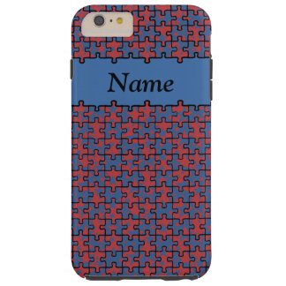 Jigsaw Stars blue red 6/6s add name Tough iPhone 6 Plus Case