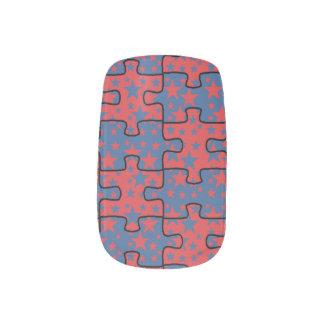 Jigsaw Stars blue red pattern Minx Nail Art
