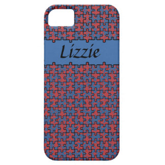 Jigsaw Stars cobalt blue aurora red personalised iPhone 5 Cases