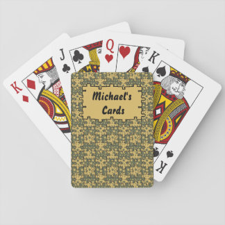 Jigsaw Stars cypress green yellow Personalise-It! Playing Cards