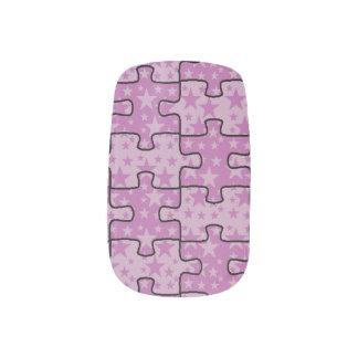 Jigsaw Stars purple pink Minx Nail Art
