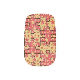 Jigsaw Stars red yellow Minx Nail Art