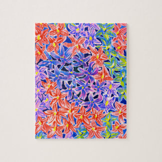 Jigsaw with Floral Watercolour Jigsaw Puzzle