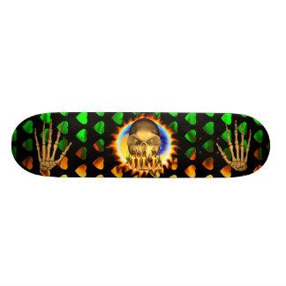 Jill skull real fire and flames skateboard design