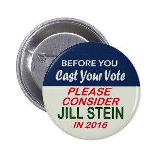 Jill Stein Green Party for Presidenr 2016 6 Cm Round Badge