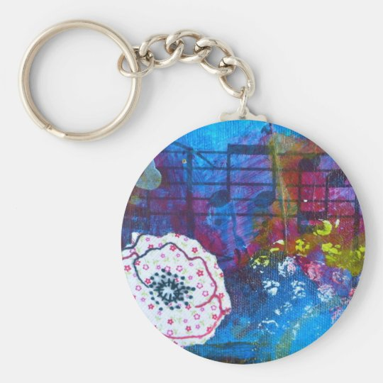 Jill's Flowers Series Detail Basic Round Button Key Ring