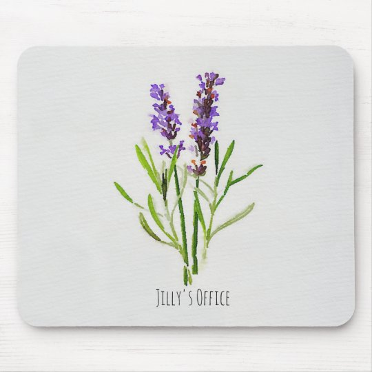 Jilly's Botanical Lavender Watercolor Mouse Pad