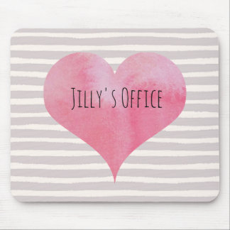 Jilly's PInk Watercolor Heart Mouse Mat