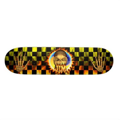 Jim skull real fire and flames skateboard design.