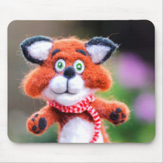 Jim the Fox Cute Toy Needle Felted Cub Mousepad