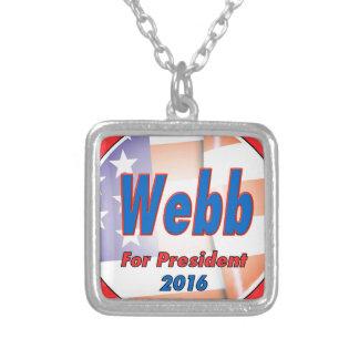 Jim Webb for President in 2016 Square Pendant Necklace