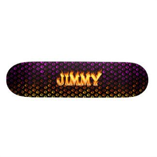 Jimmy skateboard fire and flames design.