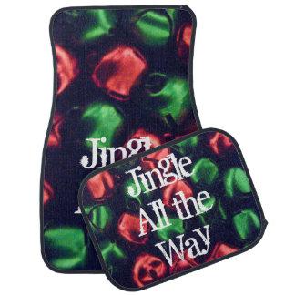 Jingle All the Way Red & Green Bells Car Mat