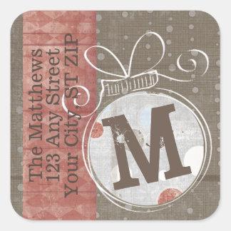 Jingle Bell Monogram Return Address Square Sticker