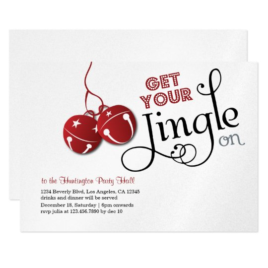 Jingle Bells Christmas Holiday Invitation card