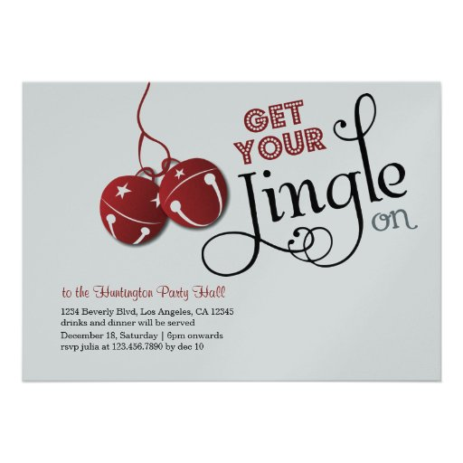 Jingle Bells Christmas Holiday Invitation card