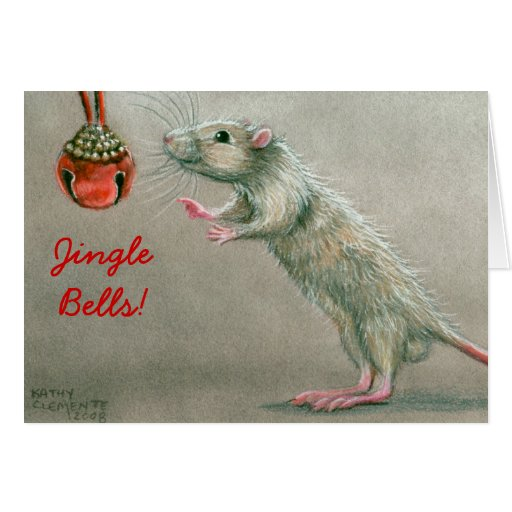 Jingle Bells Rat with bell Christmas Card