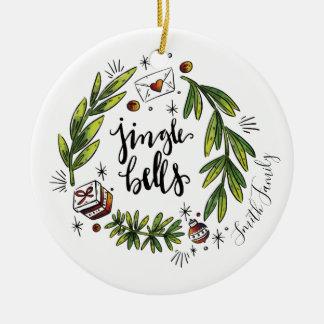 Jingle Bells Watercolor Hand Drawn Wreath Ornament
