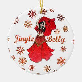 Jingle Belly Dancer Christmas Round Ceramic Decoration