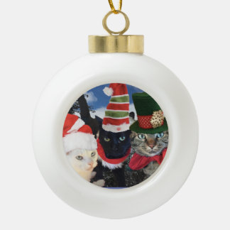 Jingle Cat Collection Ceramic Ball Christmas Ornament