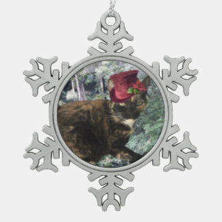 Jingle Cat Collection Snowflake Pewter Christmas Ornament