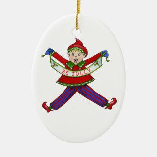 "Jingle Elves ""Jolly"" Ceramic Oval Decoration"