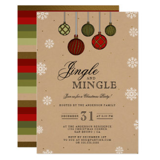Jingle & Mingle | Modern Baubles Christmas Party Card