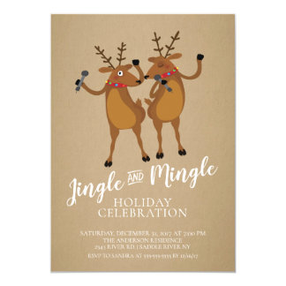 Jingle & Mingle Reindeer Holiday Party Invitation