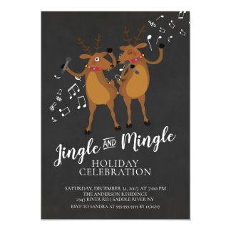 Jingle & Mingle Reindeer Holiday Party Invitation