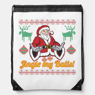 Jingle My Balls Santa Claus Ugly Christmas Sweater Rucksack