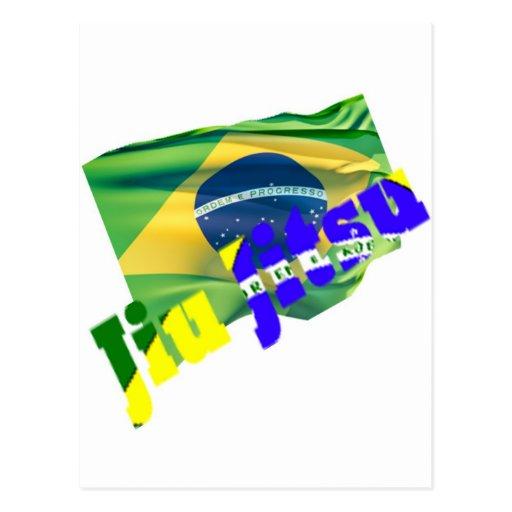 Jiu Jitsu w/ Brazil Flag Post Card