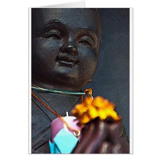 Jizo Buddha with Marigold Offering Greeting Card
