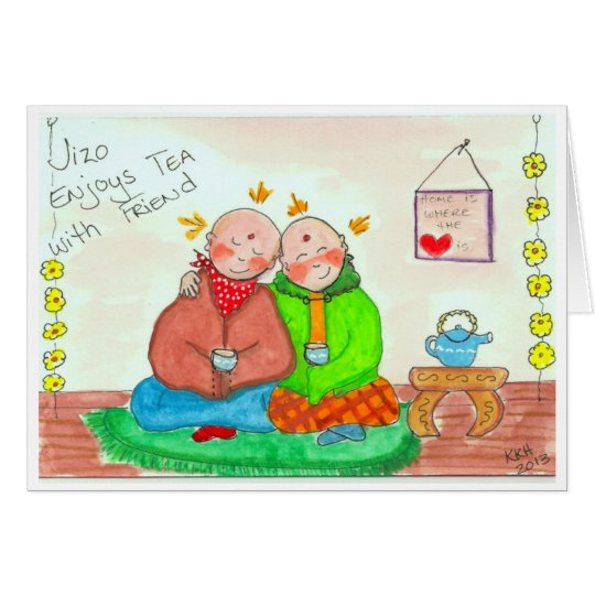 Jizo Enjoys Tea with Friend Card
