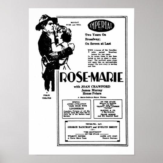 Joan Crawford Rose-Marie silent movie advertisemen Poster