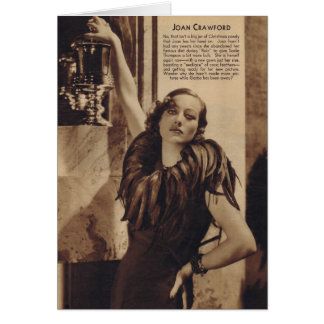 Joan Crawford vintage portrait with feathers Card