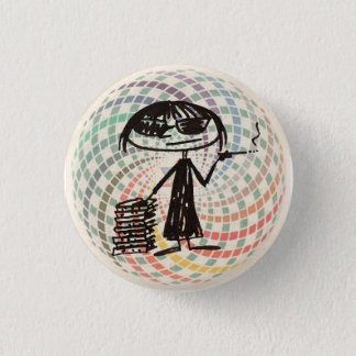 joan didion with sacred geometry 3 cm round badge