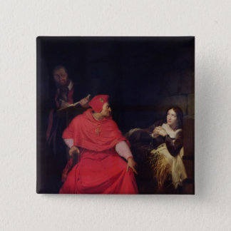 Joan of Arc  and the Cardinal of Winchester 15 Cm Square Badge