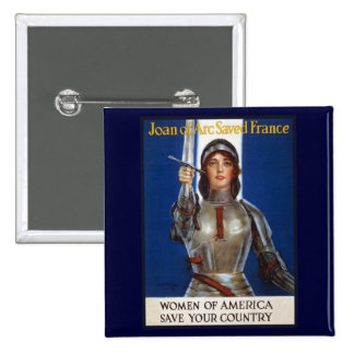 Joan of Arc WPA French American Feminism Ads Pinup 15 Cm Square Badge