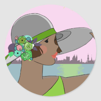 Joanne in Green & Mauve - Round Stickers