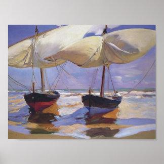 Joaquín Sorolla- Beached Boats Posters