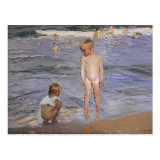 Joaquín Sorolla- Children bathing in afternoon sun Post Card