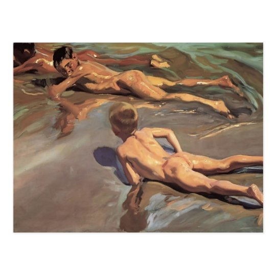 Joaquín Sorolla- Children on the Beach Postcard