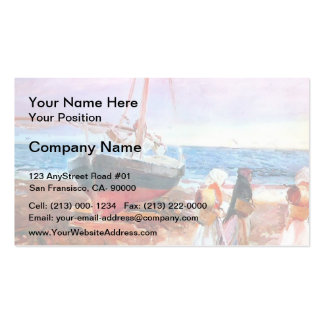 Joaquín Sorolla-Fisherwomen on the Beach, Valencia Pack Of Standard Business Cards