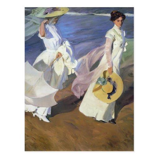 Joaquín Sorolla- Strolling along the Seashore Postcards