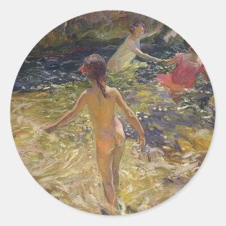 Joaquín Sorolla- The bath, Javea Round Sticker